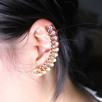 Wholesale Dangling Crystal Ear Cuffs - Hot Sale 1Pcs Gold Color Exquisite Crystal Ear Cuff Earring Women Girls Single Earring Cuff Jewelry Free Shipping E0006