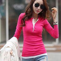 Wholesale Long Blouse Wholesale - Wholesale- Autumn Long Sleeve Cotton Slim Ladies Tops Blouse Sweater for Women Ladiesd 5 Colors