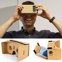 Wholesale Helmet Google - Google Cardboard Cardbord Lnette Video 3 D Gerceklik Virtual Reality Goggles 3D VR Glasses Smartphone Helmet Headset Lens VR Box