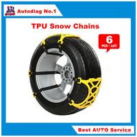 Wholesale Bmw Suit - 6Pcs Lot Universal TPU Snow Chains Suit 165-265mm Tyre Roadway Safety Tire Chains Snow Climbing Mud Ground Anti Slip