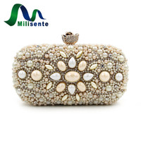 Venda por atacado - Milisente Bolsa de casamento feminina Bolsa de jóias com liga preta Sujo Pink Party Handbags Lady Clutches Small Evening Clutch Vintage Bag