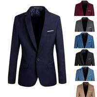 homens blazers formais venda por atacado-Atacado - Elegante Mens Casual Slim Fit Formal One Button Suit Blazer Brasão Jacket Tops