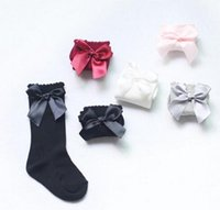 Wholesale Girls Knee Socks Long Bows - Winter Warm Baby Girls Knee High Socks with Bows Princess Cute Long Tube Kids Booties Vertical Striped Socks