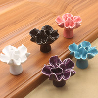 Wholesale Flower Drawer Handles - New Black White Pink Purple Blue Cockscomb Flower kids ceramic solid single door handles pull cabinet drawer knobs furniture accessory#492