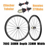 Wholesale wheelset sale - Catazer Factory Sale 700C 38mm Depth 23mm Width Cycling Wheels Clincher Tubular Full Carbon Wheelset With Novatec 271Hubs