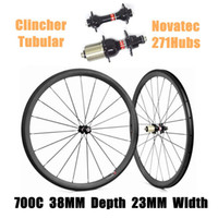 Catazer Factory Sale 700C 38mm Profundidad 23mm Ancho Ciclismo Ruedas Clincher Tubular Lleno Wheelset Con Novatec 271Hubs