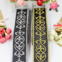 dantel altın kaplama toptan satış-YACKALASI 6 Yards / Lot Altın Nakış Düzeltir Siyah Kurdele Örgü sashes Dantel işlemeli Dantel Demir On Trims 5 cm Geniş