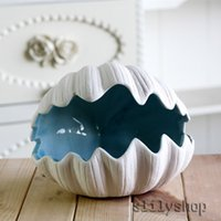 Casa Ariel Series adorno 1 Piece Blue Ocean Estilo Cerâmica Decorativa Shell Forma Armazenamento para Jóias Gift for Wedding Favors