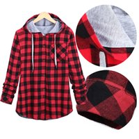 Wholesale Women Red White Plaid Shirt - Wholesale-Plaid Side Zipper Scotland Long-sleeved Casual Shirt Hiphop Black And White, Blue And Red Hoodies Sweatshirts For Men And Women