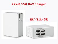 Wholesale Usb Charger 5v 5a - 4 Port USB Wall Charger 5A 5v High Speed Portable Travel Charger Power Adapter with Folding Plug for iPhone 7 iPad Android
