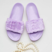 Wholesale Warm House Slippers Women - 2017 New (With Box and Dust Bags)Rihanna Fur Leadcat Fenty Slides Slippers Women Men House Winter Slipper Home Shoes Woman Warm Slippers