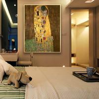 abstrakte kunst malerei liebhaber großhandel-Gustav Klimt - Der Kuss Junge Liebhaber Portraits, Handgemalte Abstrakte Kunst Ölgemälde Hohe Qualität Leinwand Home Decor Größe kann angepasst werden