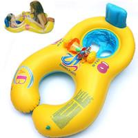 bebek yüzmek boyun yüzer toptan satış-Şişme Bebek Yüzme Boyun Halka Anne ve Çocuk Yüzme Daire Çift Yüzme Yüzükler Şamandıra Koltuk Piscine