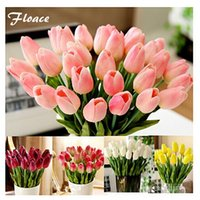 Fiori artificiali del fiore decorativo di Floace 25Pcs / Lot Pu Tulipano decorativo 9Color (nessun vaso)