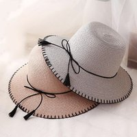 Wholesale Straw Sombreros - Women Summer Straw Hats Women Wide Brim Flat Top Beach Sunhat Sombreros Mujer Boater Hat Chapeu Masculino