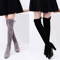 Vente en gros - T9070 Lady's 8 cm Talons hauts femme Slim Leg Chaussures automne hiver Coeur High Knight Boots Femmes Suede chaussures Over The Knee Boots
