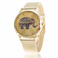 Wholesale Elephant Pins - Mesh belt speed sell tong fashion gold watch lady wrist watch an elephant mesh belt mesh belt watch lady quartz table