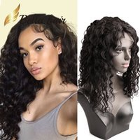 Wholesale human hair weaves for black women resale online - 150 Density Front Lace Wig inch Loose Curly Weave Human Hair for Black Women Natural Color Full Lace Wigs Bella Hair Accept Customization