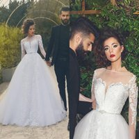Wholesale Fantastic Wedding - 2017 New Fantastic Modern Sheer Jewel Neck Wedding Dresses Saudi Arabic Dubai Vintage Long Sleeves Appliqued Bridal Gowns Formal Vestidos
