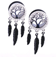 Wholesale Thanksgiving Ear Plug - New Hot Stainless Steel Peace Tree Circle With Rhinestones Ear Plugs Tunnels Gauge Leaves Dangle Charms Body Piercing Jewelry 8mm-12mm