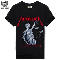 Wholesale Dry Bones - [Men bone] Men T Shirt Black T-Shirt Cotton Metallica Print Heavy Metal Rock Hip Hop Punk Clothing Summer Tee