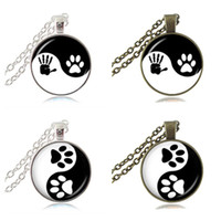 Wholesale Zen Jewelry Wholesale - Yin Yang Necklace Pet Paw Print Pendant Handprint Art Charm Tai Ji Jewelry Zen Religious Ying Yang Necklace Gifts for Dog Animal Lover