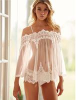 örgü sütyen iç çamaşırı toptan satış-Kadın Pijama Kadın Chemises Sexy Lingerie Dantel Önlük Pijama Şeffaf Babydoll Elbise Mesh İç Gecelikler Elbise