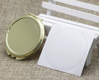 Wholesale Gold Compact Mirror - 62mm Gold Compact Mirror Blank Magnifying Pocket Mirror +Epoxy Sticker DIY set M0832G DHL FREE SHIPPING