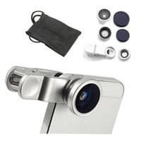Wholesale Iphone 4s Lens Kit - Universal Clip 3in1 Fisheye fish eye Lens + Wide Angle + Macro Mobile Phone Lens photo Kit Set for iPhone 6 4 4S 5 5S Samsung S4