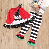 Wholesale Girls Tutu Trousers - European Children Girls Snowman Clothes Set Stripe Christmas Suits Kid Girls Xmas Long Sleeve Shirt Trousers 2102147