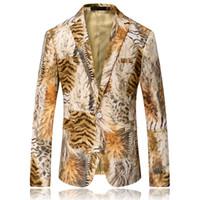 Wholesale Tiger Blazer - Wholesale- Men Blazer 2017 Tiger Pattern Mens Printed Blazer Coat Design Velvet Suit Jacket Casual Floral Blazers Jacket Stage Wear Singers