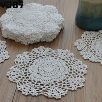 "Wholesale Knitting Doily - Wholesale-8"" Round Handmade Crochet Lace Floral Doilies Vintage Knit Cup Coasters Tableware Placemat Pad Wedding Table Decor Cloth"