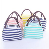 Wholesale Tote Lunch Bags For Women - Waterproof Canvas Stripe Lunch Bag Lunch Tote For Women Kids Stripe Lunch Bag Picnic Case Carry Tote Storage Bag LJJK795