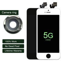 Wholesale Screens Ears - For iphone 5 Grade AAA No Dead Pixels LCD Touch Screen Digitzer Replacement Parts For iPhone 5 5S 5C with camera ring+ear mesh
