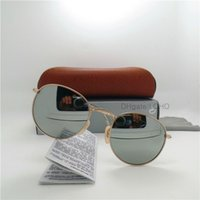 Wholesale Circle Color Lens - Fashion High Quality Men Women Circle Sunglasses UV Protection Brand Design Sport Vintage Glas Lens Sun Glasses Retro Eyewear With Box Case