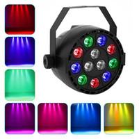 dj mix light venda por atacado-12 LEDs RGB Color Mixing Par Lâmpada 8CH Voz Ativado Luz Do Estágio Levou Plana Para DJ Festa de Casamento de Férias Estágio Luz projetor