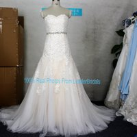 Wholesale Plus Size Bridal Jewelry - Champagne Ball Gown Sleeveless Beaded Wedding Dresses Real Photos Stock Tulle Lace A-Line Sweetheart Jewelry Belt Custom Bridal Gown 2018