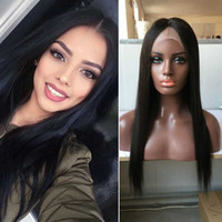 Wholesale Wig Human Hair Ponytail - Full Lace Straight Wig High Ponytail Long Black Straight Full Lace Human Wigs For White Women Straight Full Lace Human Hair Wigs Sale