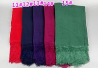 Wholesale Lace Hijab Scarves - Wholesale- 18 color ladies Solid color small lace floral fashion high quality cotton long shawls muslim hijab wrap scarves scarf 10pcs lot