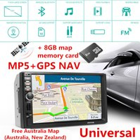 7 '' Touch Screen HD 1080P Navegação no carro com teclado no carro Bluetooth Stereo MP5 Player + 8G Memory Card FreeAustralia Mapa da Nova Zelândia