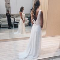 modernos vestidos de noiva elegantes venda por atacado-Novos Modern V-Neck Lace Vestidos de casamento branco Sexy Back Backless Andar de comprimento Elegant Bridal Vestidos Custom Victoria Bride Dress