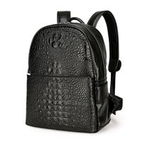 Wholesale Leather Fashion Backpack Vintage - Fashion PU Crocodile Men's Backpack Male Leather Backpacks High Quality Student Bag Men Rucksack Bagpack mochila