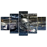 Wholesale Art Canvas For Drawing - Modern Wall Art home decor Painting 5 Piece No Frame Dallas cowboys football helmet Pictures For Drawing room Canvas Print