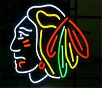"Wholesale Beer Hockey - 17""x14""New Hot NHL CHICAGO BLACKHAWKS HOCKEY REAL NEON BEER BAR PUB LIGHT SIGN"