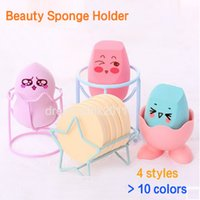 Wholesale Makeup Sponge Eggs - New Design Makeup Beauty Stencil Egg Powder Puff Sponge Display Stand Drying Holder Rack New Arrival Chick Claw Cat ear Star