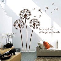 Wholesale Black Flowers Wall Stickers - Flying Dandelion Butterfly Wall Decals Room DIY Flower Decorative Wall Stickers Home Decal Wallpapers