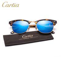 Wholesale Metal Half Frame Sunglasses - mirror Carfia sunglasses for women 5109 acetate metal sunglasses brands oculos de sol feminino 2016 vintage 51mm fashion sunglasses for men