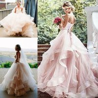 Wholesale Wedding Dresses Soft Elegant - Vintage Soft Tulle Inspired Blush Beach Wedding Dresses 2017 Romantic Layered Tulle Sweetheart Elegant Princess Country Bridal Wedding Gowns