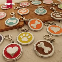 Wholesale Dog Leash Metal - wholesale 30mm bone fish footprint heart dog id tag for pet metal round dog name tags collar leash match dog cat charm