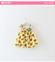 Wholesale Girls Sleeveless Harness Dress - 2017 a summer new children's clothing girl Korean version of sunflower harness dress children's clothing wholesale